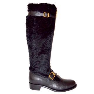 Rupert Sanderson Black Leather & Rabbit Fur Boots