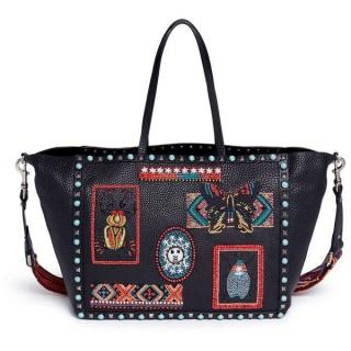 Valentino Rockstud Rolling Beaded Patch Guitar Tote Bag Black