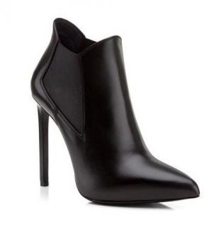 Saint Laurent Calf Skin Leather Stiletto Ankle Boots