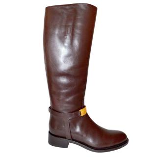 Rupert Sanderson Glenally 24K Gold Brown Calf Leather Knee Boot