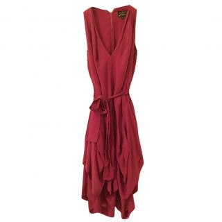 Vivienne Westwood Pink Draped Dress 100% Silk