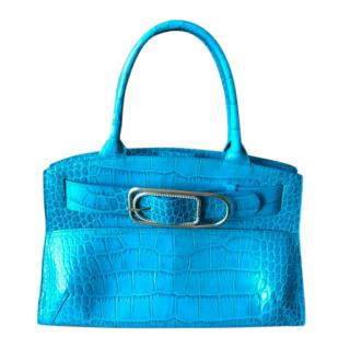 Furla Turquoise Snake Embossed Top Handle Bag