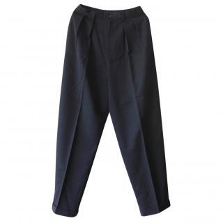 Ralph Lauren High Waisted Navy Wool Pants