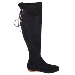 Rupert Sanderson Gallipoli Black Suede Knee Boots