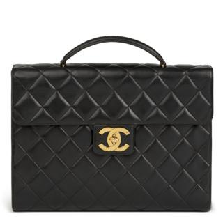 Chanel Black Quilted Jumbo XL Vintage Briefcase