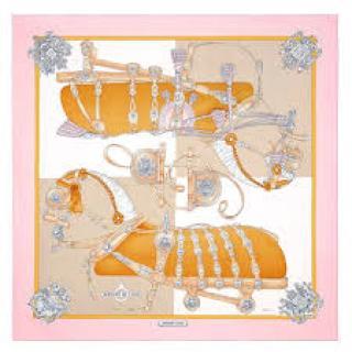Hermes Pink Harnais De Cour Silk Scarf