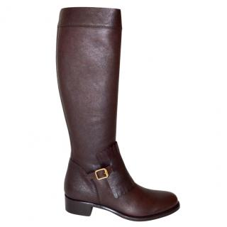 Rupert Sanderson Chicago Brown Wash Calf Leather Knee Boots