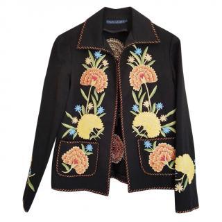 Ralph Lauren Embroidered Black Wool Jacket