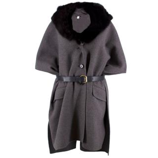 Marc Jacobs Grey Cashmere Cape Coat with Fur Collar