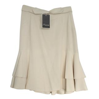 Temperley cream double ruffle skirt