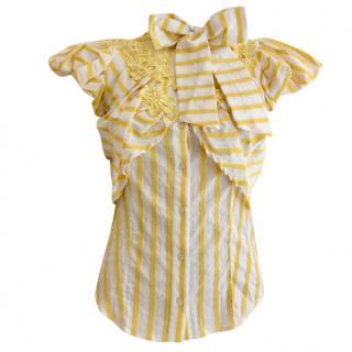 Gaetano Navarra Yellow and White Stripe Pussy Bow Blouse