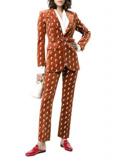 Chloe Current Season Embroidered Horse Print Velvet Suit