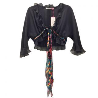 Ungaro Black Silk Ruffled Shrug