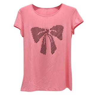Free Voogue Italy Rose Pink Bow T Shirt