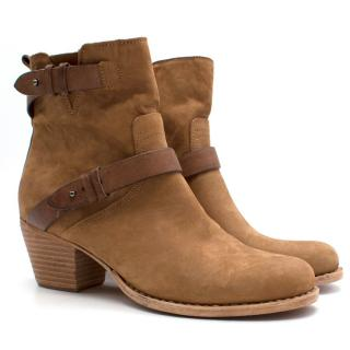 Rag & Bone Tan Suede Leather Heeled Ankle Boots