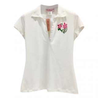 Blumarine Hand Painted & Embroidered Floral Top