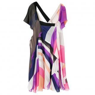 Chloe Irene Patchwork Silk Flutter Dress