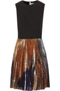Victoria, Victoria Beckham Crepe and printed silk-blend lam� dress