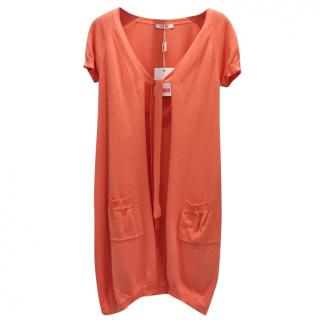 Blumarine Orange Short Sleeve Knit Cardigan