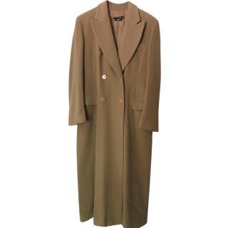Giorgio Armani Black Label Double Breasted Camel Cashmere & Wool Coat