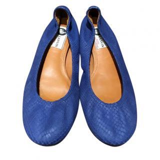 Lanvin royal blue snakeskin ballet flats