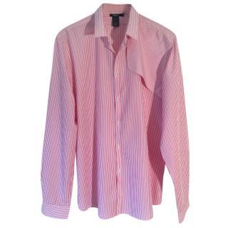 Filippa K Men's cotton red & white striped shirt