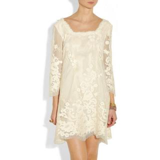 Anna Sui Lace-Applique Mesh and Satin Dress