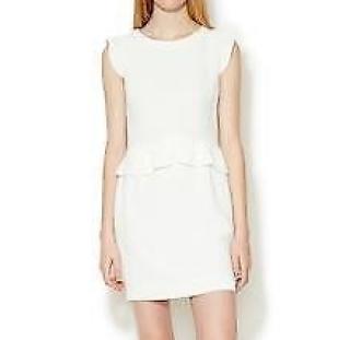 Sandro White Resonance Peplum Dress