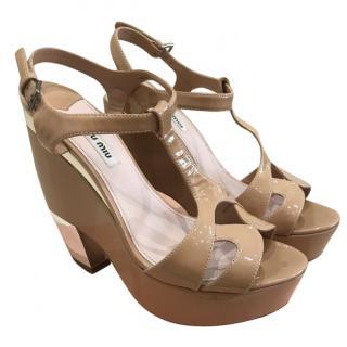 Miu Miu Desire Nude Platform Wedge Shoes