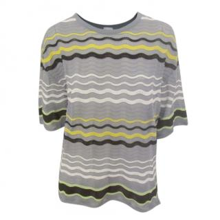 M Missoni Textured Crochet Knit Wave Stripe Top
