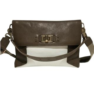 Anya Hindmarch White & Mushroom High Shine Coburn Shoulder Bag
