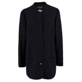 Chanel Boutique Black Lightweight Wool Blazer