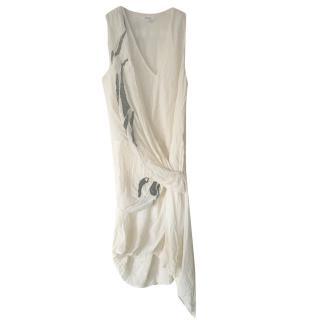 Helmut Lang silk chiffon embroidered asymmetrical dress