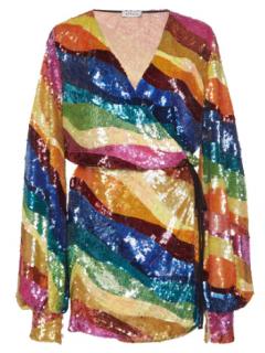 Attico Sequin Tulle Wrap Mini Dress