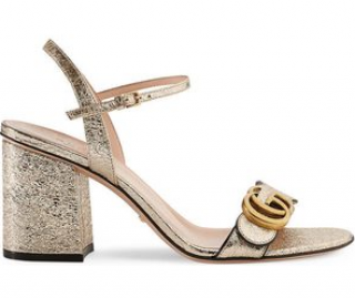 Gucci Metallic Gold Mid-Heel City Sandals