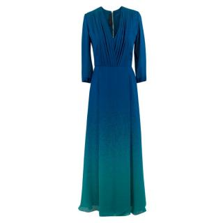 Elie Saab Blue Ombre Double Silk Georgette Gown