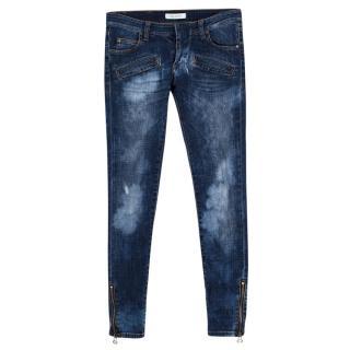 Pierre Balmain Blue Distressed-Wash Skinny Jeans