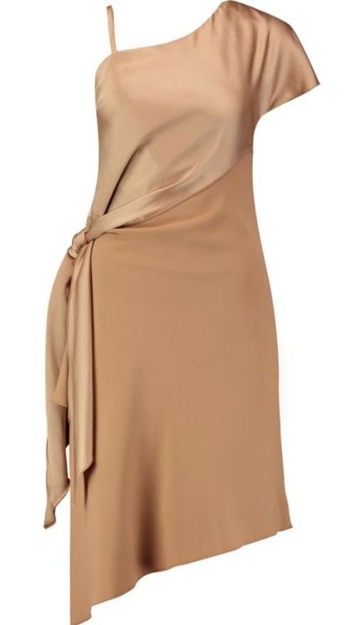 Carven One-Shoulder Satin & Crepe Dress