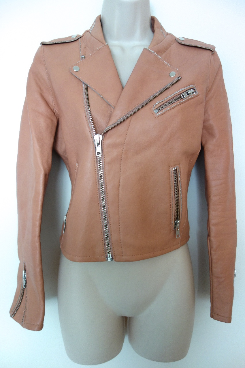 6255b7853 Maje Cropped Leather Biker Jacket
