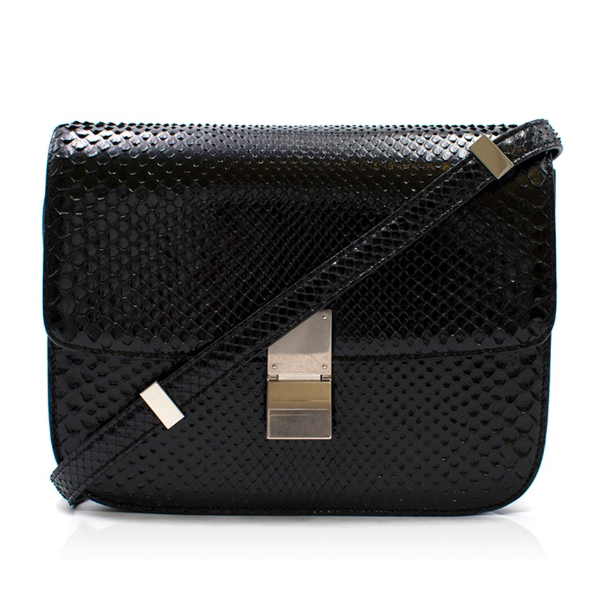 Celine Black Snakeskin Classic Medium Box Bag  2ed971b8408fd
