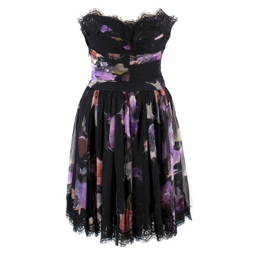 Dolce & Gabbana Black Strapless Floral Dress