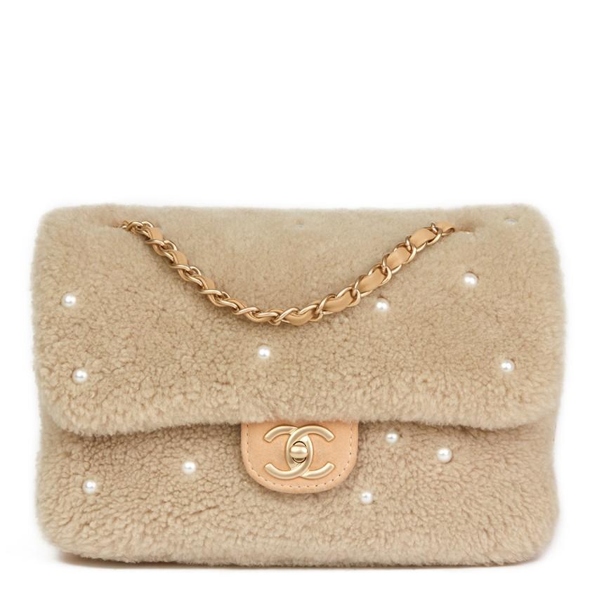 Chanel Pearl Embellished Shearling & Lambskin Biege Single Flap Bag