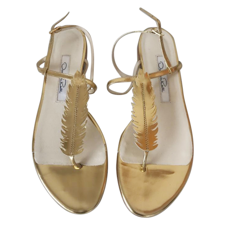 Oscar de la Renta gold flat feather sandals
