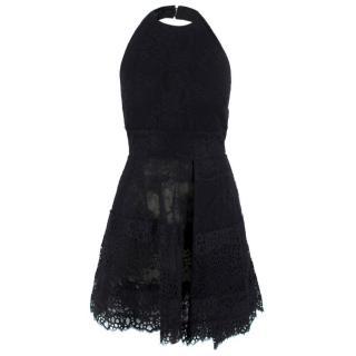 Elie Saab Black Lace Halterneck Mini Dress