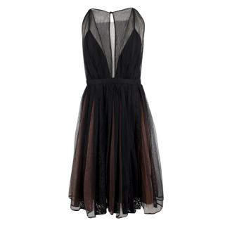 No.21 Sheer Pleated Sleeveless Lace Dress