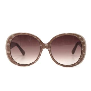 Markus Lupfer Taupe Glitter Lip Oversized Sunglasses