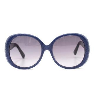 Markus Lupfer Navy Glitter Oversized Sunglasses