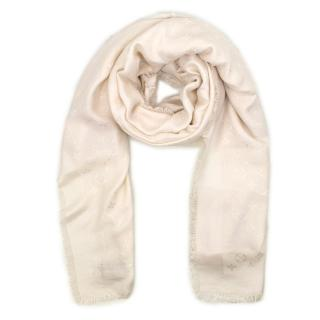 Louis Vuitton Wool & Silk Blend Cream Monogram Shawl