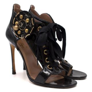 Saint Laurent Black Lace Up Sandals