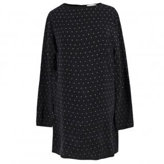 Anine Bing Black Long Sleeved Studded Mini Dress